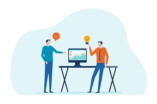 Dwóch Biznesmenów Mówi Do Inwestycji W Biznes Premium Wektorów