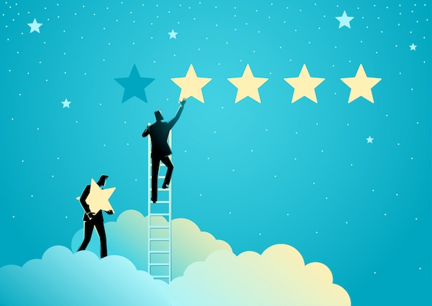 Dwóch Biznesmenów Podających Pięć Gwiazdek Premium Wektorów