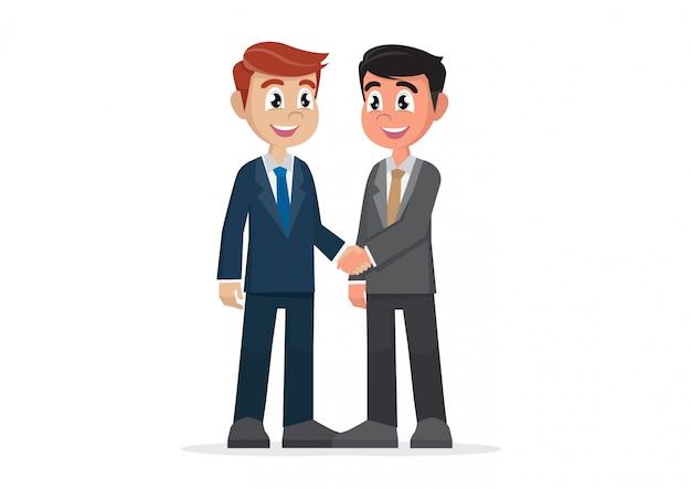 Dwóch Biznesmenów, ściskając Ręce. Premium Wektorów