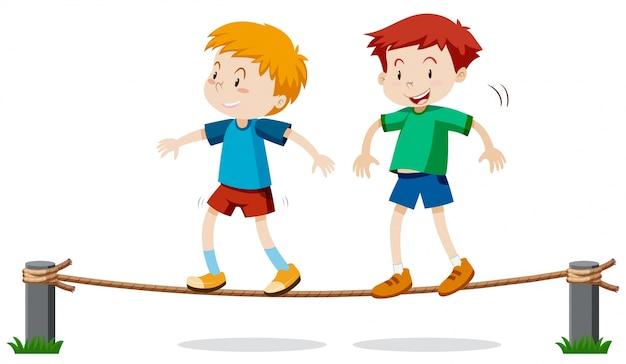 Dwóch Chłopców Na Równoważenie Liny Darmowych Wektorów