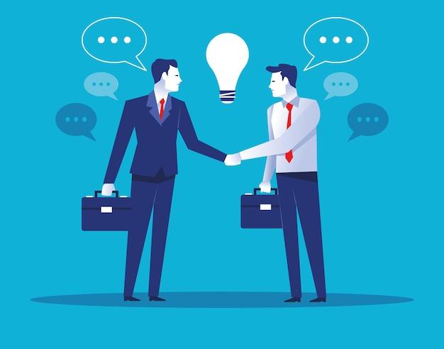 Dwóch Eleganckich Pracowników Biznesmenów Z Ilustracją Znaków żarówki Premium Wektorów