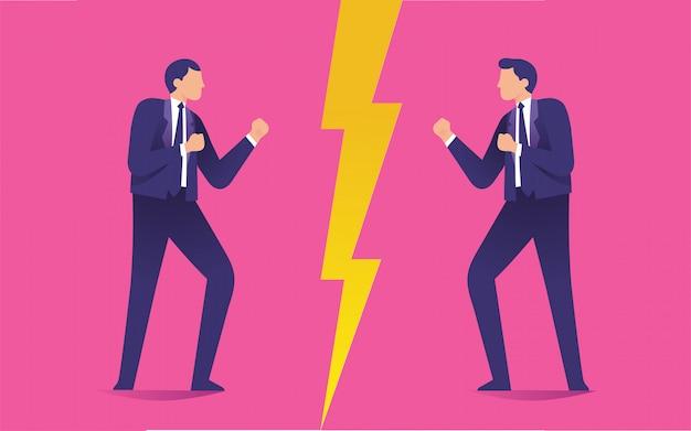 Dwóch mężczyzn gapiących się na siebie jak wrogowie, konflikt między dwoma pracownikami Premium Wektorów