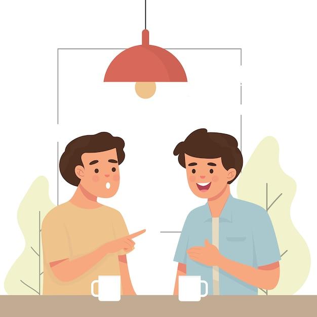 Dwóch mężczyzn plotkujących w kawiarni Premium Wektorów