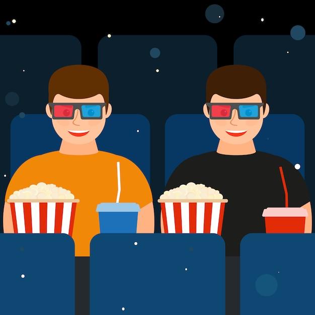 Dwóch mężczyzn w kinie w okularach 3d z popcornem i napojami. Premium Wektorów