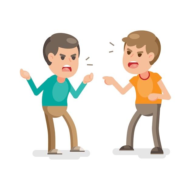 Dwóch młodych mężczyzn walczących gniewnie i krzyczących na siebie Premium Wektorów