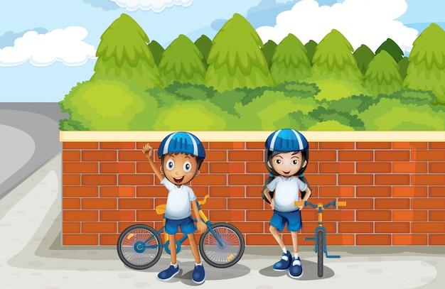 Dwóch Młodych Rowerzystów Na Ulicy Darmowych Wektorów