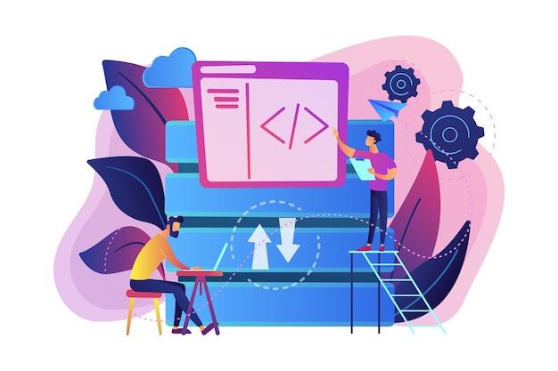 Dwóch Programistów Pracujących Z Ilustracją Technologii Dużych Zbiorów Danych Darmowych Wektorów