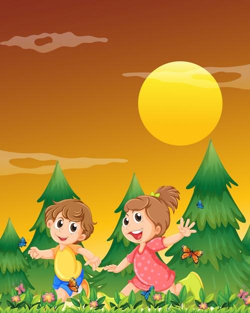 Dwoje dzieci bawiących się w ogrodzie z motylami Darmowych Wektorów