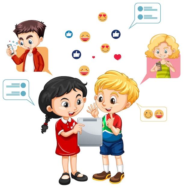 Dwoje Dzieci Uczących Się Na Tablecie Z Stylu Cartoon Ikona Emoji Mediów Społecznościowych Na Białym Tle Darmowych Wektorów