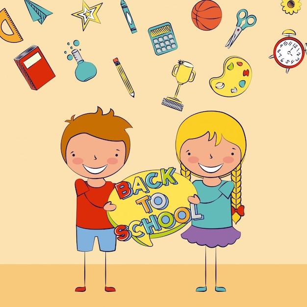 Dwoje dzieci z powrotem do szkoły z ilustracją niektórych elementów szkoły Darmowych Wektorów