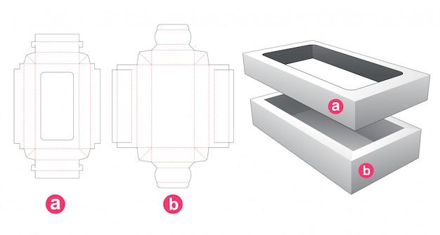 Dwuczęściowe Prostokątne Pudełko Z Wykrawanym Szablonem Premium Wektorów