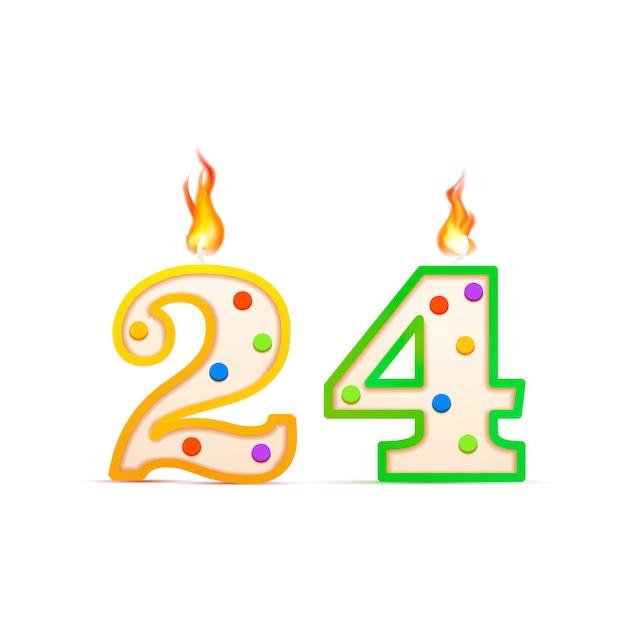 Dwudziestoczterolecie, świeca Urodzinowa W Kształcie 24 Cyfr Z Ogniem Na Białym Tle Premium Wektorów