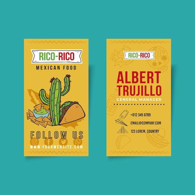 Dwustronna Wizytówka Kuchni Meksykańskiej Premium Wektorów