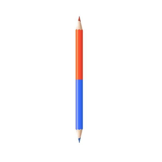 Dwustronny Kolorowy Ołówek Realistyczny Element Edukacji Szkolnej Premium Wektorów