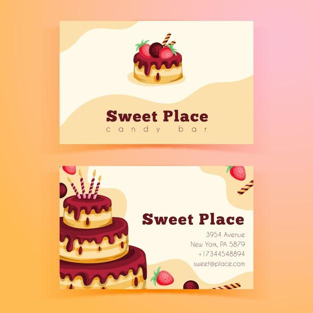 Dwustronny Poziomy Szablon Wizytówki Na Przyjęcie Urodzinowe Premium Wektorów