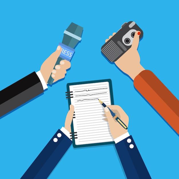 Dyktafon, Mikrofon Trzymając Się Za Ręce Premium Wektorów