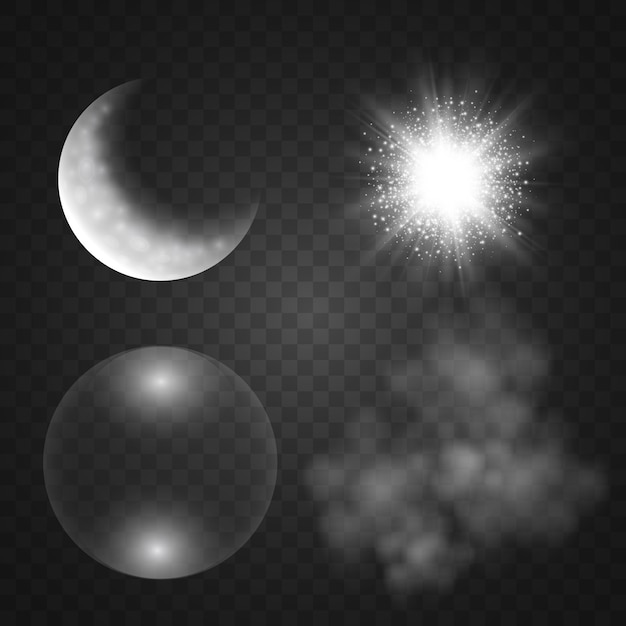 Dym, Księżyc, Bańka Mydlana, Efekt świetlny Na Przezroczystym Tle. Ilustracja. Premium Wektorów