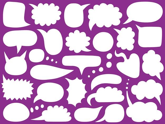 Dymki. Puste Puste Balony Wiadomości, Doodle Chmury Czatu, Ręcznie Rysowane Mówią Ramki Bąbelkowe. Premium Wektorów