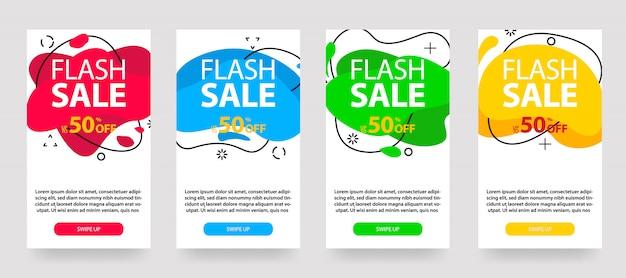 Dynamiczny nowoczesny płyn mobilny banery na sprzedaż. projekt szablonu banerów sprzedażowych, zestaw ofert specjalnych sprzedaży flash, post w mediach społecznościowych i nie tylko. Premium Wektorów