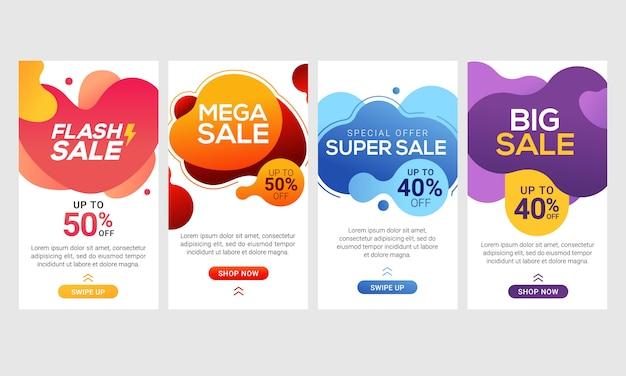 Dynamiczny Nowoczesny Płyn Mobilny Do Banerów Sprzedaży Flash Premium Wektorów