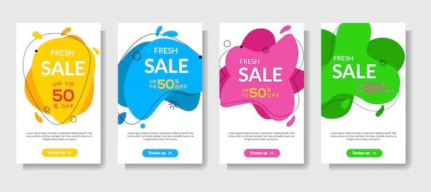 Dynamiczny nowoczesny płyn mobilny do sprzedaży banerów Premium Wektorów