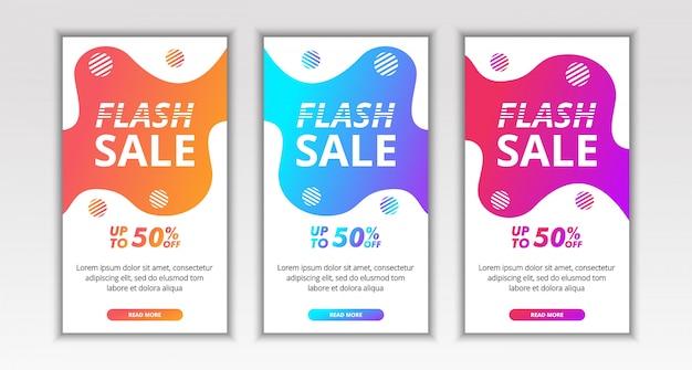 Dynamiczny Nowoczesny Płyn, Sprzedaż Flash Projekt Mobilnego Szablonu Bannera Dla Posta Na Portalach Społecznościowych Instagram Premium Wektorów