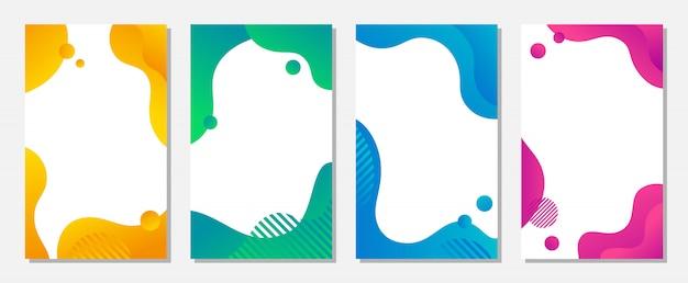 Dynamiczny Styl Projektowania Banerów Z Płynnymi Kolorowymi Kształtami Gradientu. Premium Wektorów