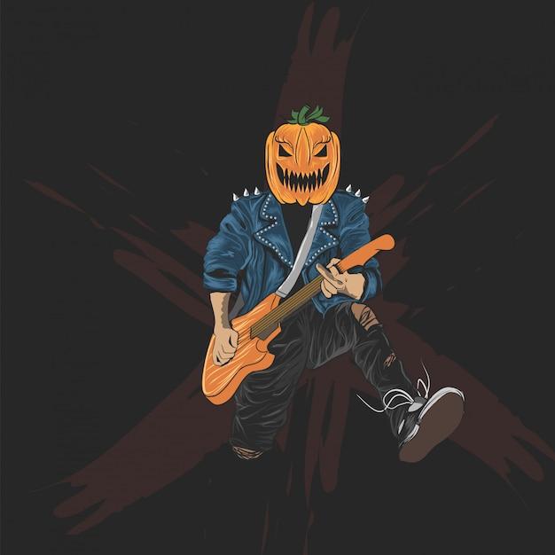 Dynia głowa rocker plakat halloween, baner i koszulka Premium Wektorów