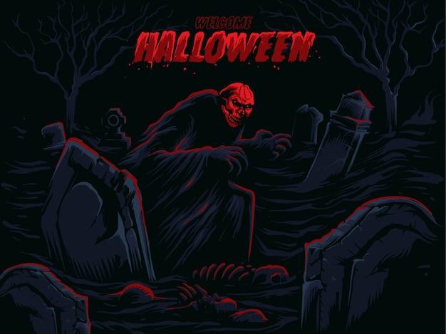 Dynia halloween przed duchem i zamek w cieniu. Premium Wektorów