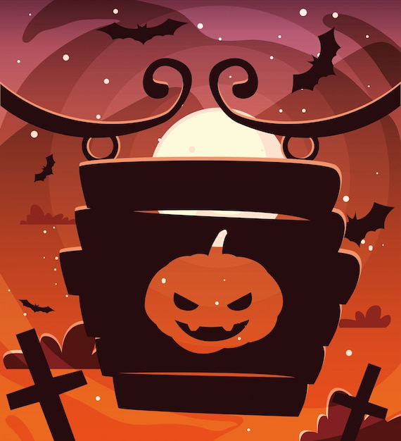 Dynie z twarzą strachu w scenie halloween Premium Wektorów