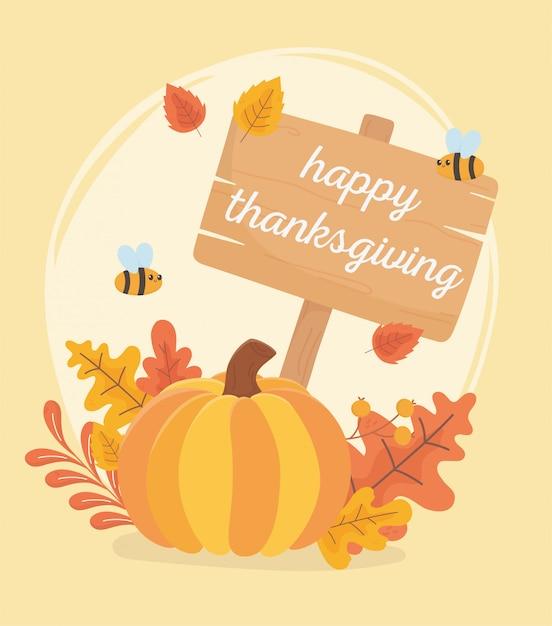 Dyniowe liście pszczół i wyżywienie szczęśliwego święta dziękczynienia Premium Wektorów
