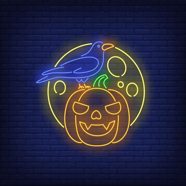 Dyniowy twarz, wrony i księżyca neonowy znak Darmowych Wektorów