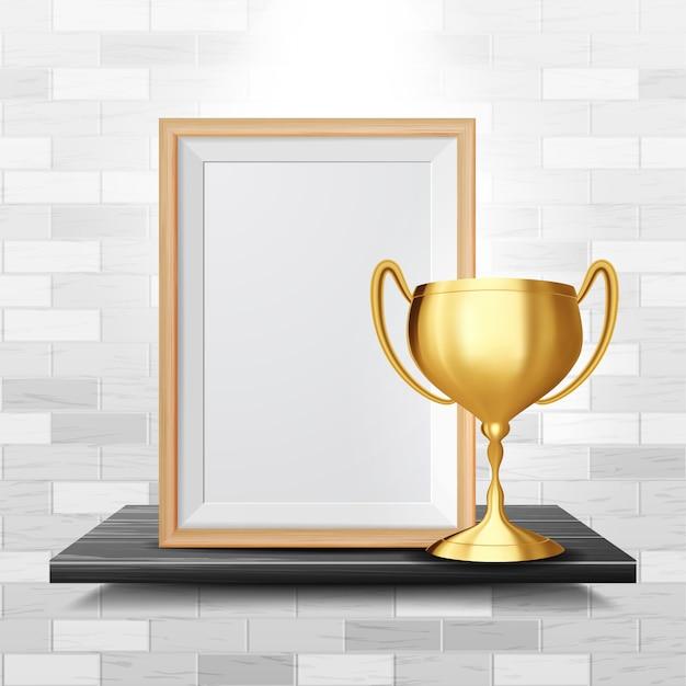 Dyplom certyfikat z złoty puchar Premium Wektorów