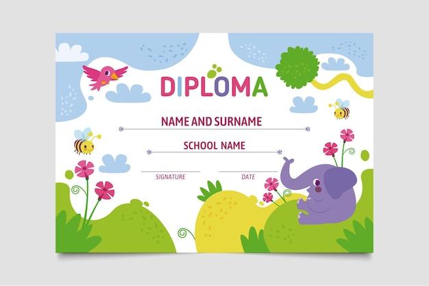 Dyplom Szablon Dla Dzieci Koncepcji Premium Wektorów