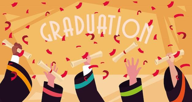 Dyplom ukończenia uroczystości Premium Wektorów
