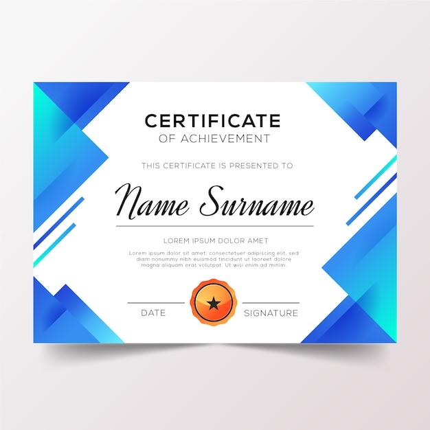 Dyplom Uznania Z Odcieniami Niebieskiego Gradientu Darmowych Wektorów