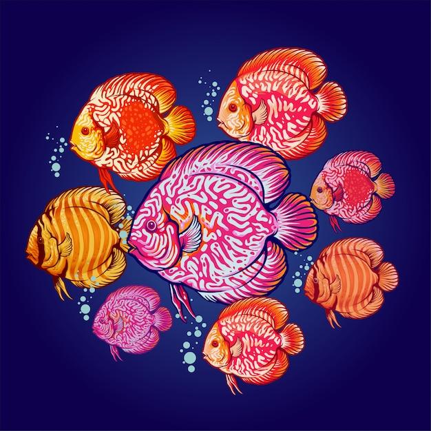 Dysk ilustracja kolonii ryb Premium Wektorów