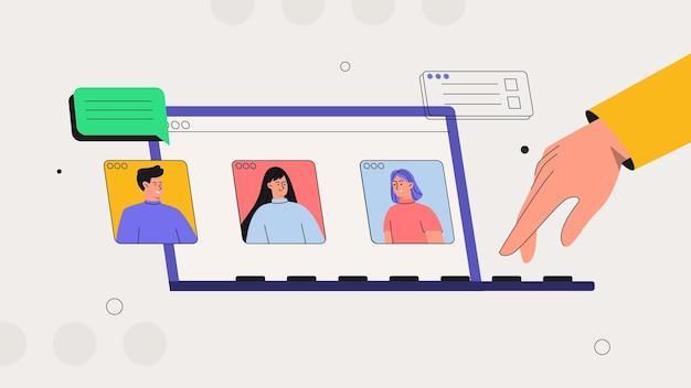 Dyskusja Online I Wideokonferencja Biznesowa Premium Wektorów