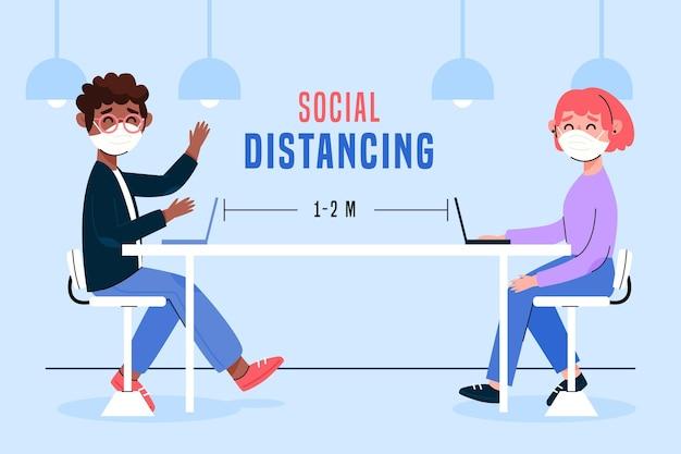 Dystans Społeczny Na Ilustracji Spotkania Darmowych Wektorów