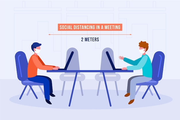 Dystans Społeczny Na Spotkaniu Darmowych Wektorów