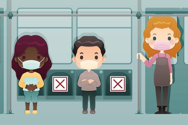 Dystans Społeczny W Maskach Autobusowych I Medycznych Darmowych Wektorów
