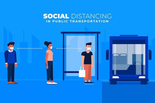 Dystans Społeczny W Transporcie Publicznym Darmowych Wektorów