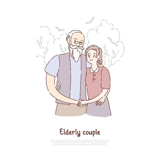 Dziadek I Babcia Stoją Razem Premium Wektorów