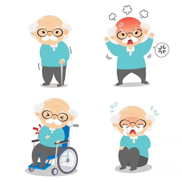 Dziadek w różnych pozycjach i wyrażający emocje. Premium Wektorów