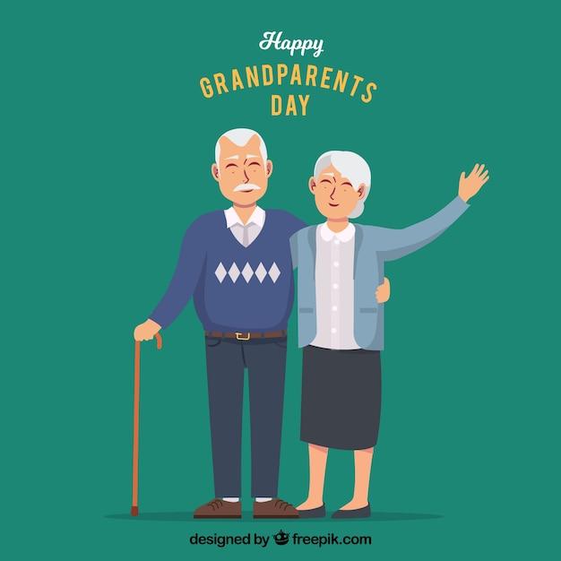 Dziadkowie Pozdrowienia Tle Premium Wektorów