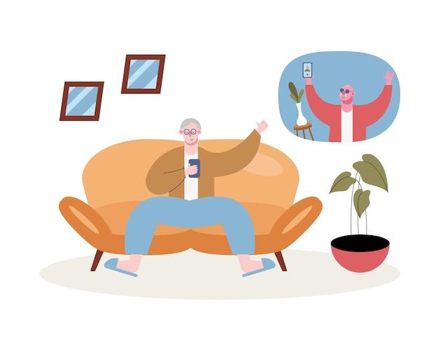 Dziadkowie Używający Smartfonów Do Rozmów Wideo Na Ilustracji Salonu Premium Wektorów