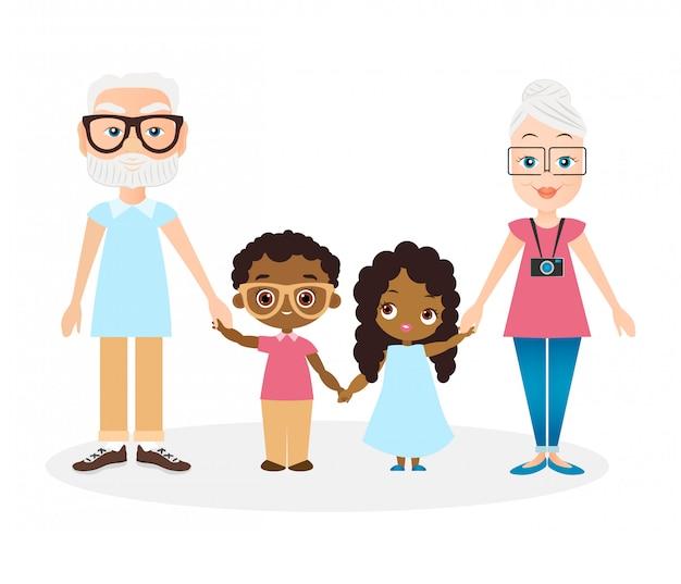 Dziadkowie z wnukiem i wnuczką. amerykanin afrykańskiego pochodzenia dziewczyna i chłopiec. Premium Wektorów