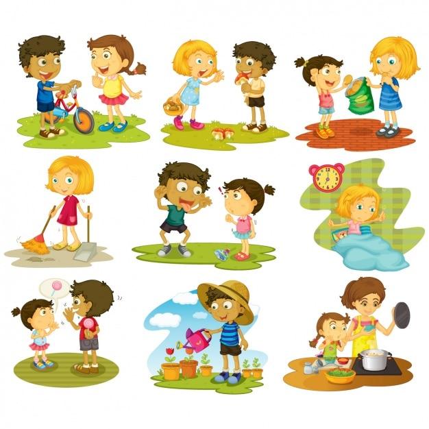 Działania Kolekcji Kid Premium Wektorów