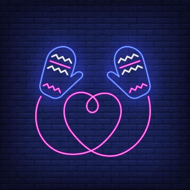 Dziane rękawiczki z sznurkiem w kształcie serca w neonowym stylu Darmowych Wektorów
