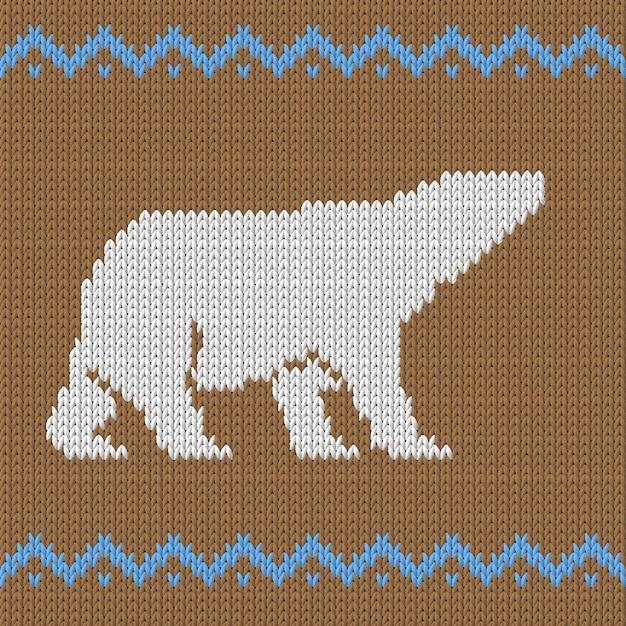Dzianiny Brązowy Wzór Z Niedźwiedzia Polarnego Ze śniegiem Premium Wektorów